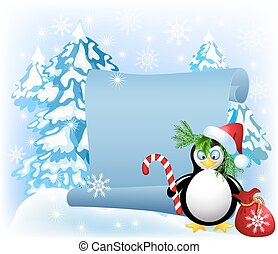 Penguin with Christmas candy in the forest