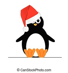penguin with christmas hat vector illustration