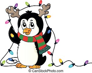 Penguin with Christmas lights image 1