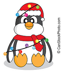 Penguin with christmas lights