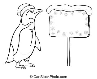 Penguin with Christmas poster, outline - Antarctic emperor...