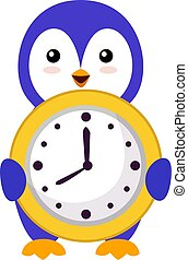 Penguin with clock, illustration, vector on white background.