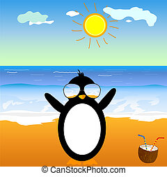 penguin with coconut on the beach vector illustration