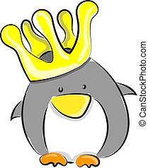 Penguin with crown, illustration, vector on white background