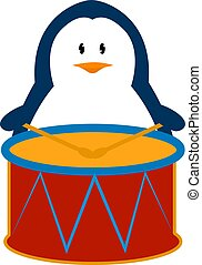 Penguin with drums, illustration, vector on white background.