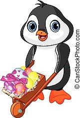 Penguin with Easter wheelbarrow