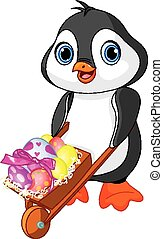 Penguin with Easter wheelbarrow - Easter Penguin with...