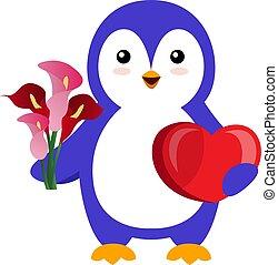 Penguin with flower, illustration, vector on white background.