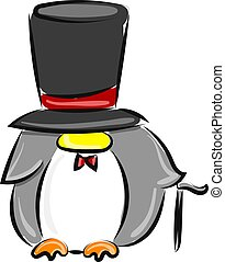 Penguin with hat, illustration, vector on white background