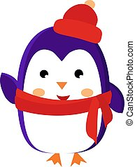 Penguin with hat, illustration, vector on white background.