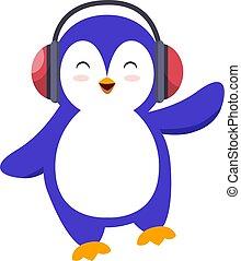 Penguin with headphone, illustration, vector on white background.