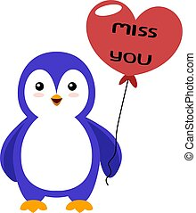 Penguin with heart balloon, illustration, vector on white background.