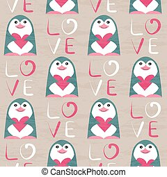 Penguin with heart seamless pattern