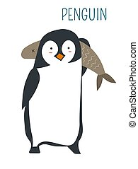 Penguin with huge fish childish book character