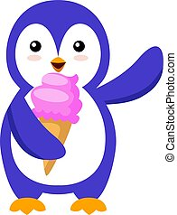 Penguin with ice cream, illustration, vector on white background.