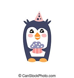 Penguin With Party Attributes Girly Stylized Funky Sticker