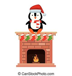 penguin with santa claus hat in chimney
