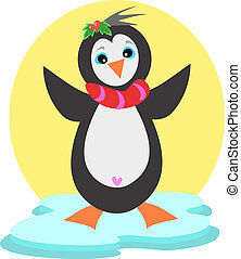 Penguin with Scarf and Heart