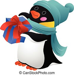 Penguin with scarf icon, cartoon style