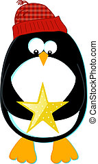 Penguin with Star - Styled cartoon of a penguin in a knit...