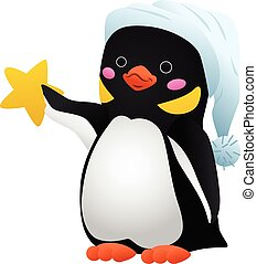Penguin with star icon, cartoon style