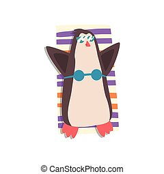 Penguin with sunglasses and bikini sunbathing on the beach, cute bird cartoon character relaxing on the seashore at summer vacation vector Illustration on a white background