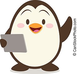 Penguin with tablet vector illustration