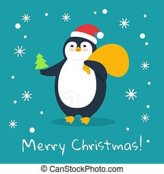 Penguin with tree gift bag Merry christmas vector