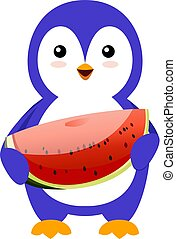 Penguin with watermelon, illustration, vector on white background.