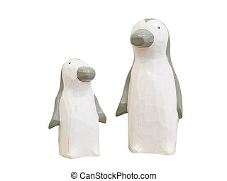 Penguin wooden dolls isolated on white background. Clipping paths included