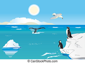 Penguins at the South Pole 1 - Polar scenery with penguins,...