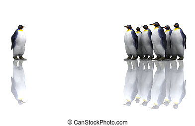 Penguins - One penguin with a group of penguins