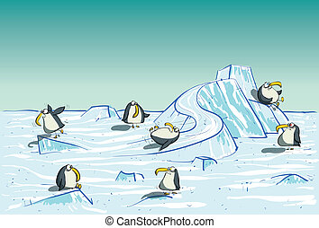 Penguins Having Fun on North Pole - Penguins Having Fun on...