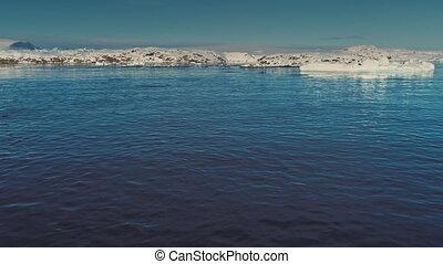 Penguins jump in the ocean. Antarctic drone shot. - Penguins...