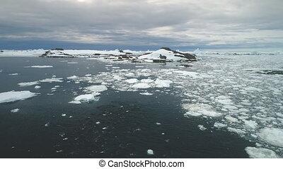 Penguins jumping in Antarctica ocean. Aerial shot. -...