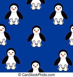 Penguins on blue background
