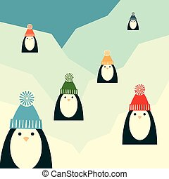 penguins on glacier retro square