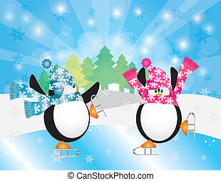 Penguins Pair Ice Skating in Winter Scene Illustration -...