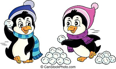 Penguins playing with snow image 1 - eps10 vector...