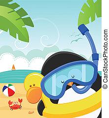 Penguin's Summer Message - Cute little penguin wearing...