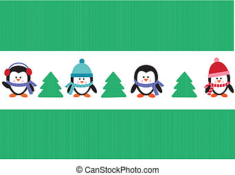 penguins with christmas trees