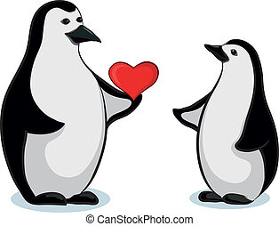 Penguins with Valentine heart - Antarctic black and white...