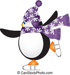 PenguinSkating4V - Christmas Penguin with Purple Hat and...