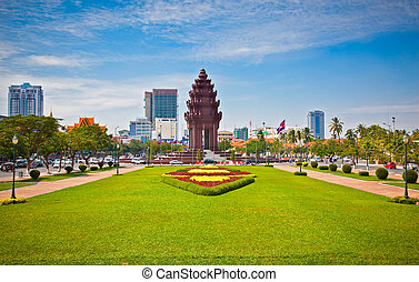 penh, cambodia., monumento independencia, phnom