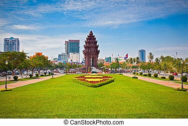 penh, phnom, cambodia., pomnik niezależności