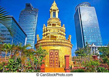 penh, stupa, budda, dawny, cambodia., phnom