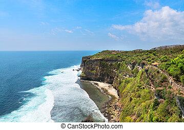 penhascos, acima,  Indonésia,  nusa,  dua, mar,  Bali