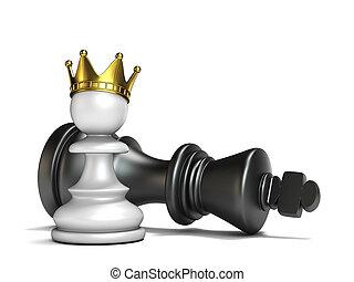 penhor branco, tem, ganhado, rei preto, 3d