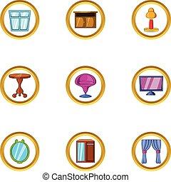 Penhouse furniture icon set, cartoon style