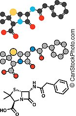 Penicillin G (benzylpenicillin) antibiotic drug molecule. Used to treat bacterial infections; belongs to beta-lactam class.